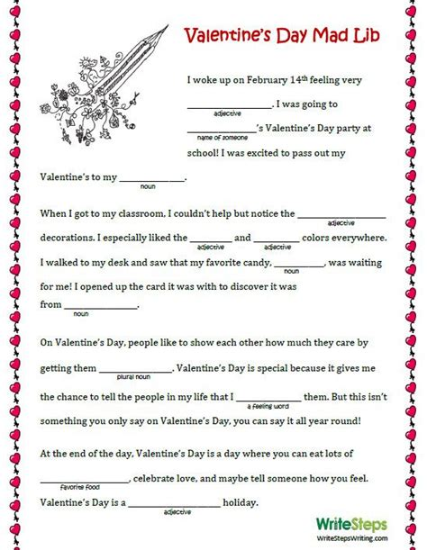 mad libs valentines mad lib s day mad lib for elementary students engchat