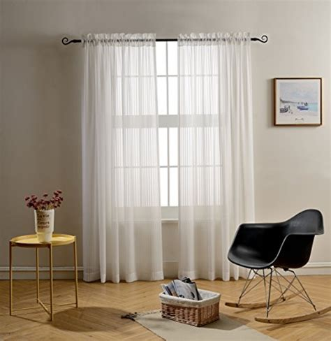 solid white curtains mysky home rod pocket solid white striped voile sheer