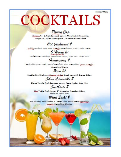 cocktail menu template microsoft word templates