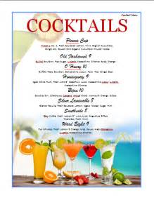 cocktail menus cocktail menu template microsoft word templates