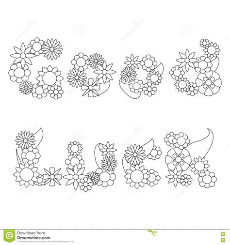 coloring pages luck luck words by flowers vector ornament for coloring