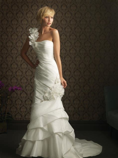 custom wedding dress ivory one shoulder floral taffeta column sheath unique