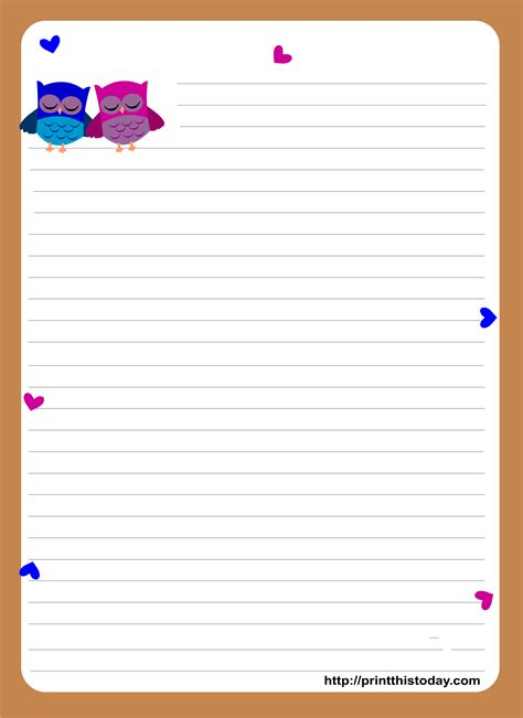 stationery template owl writing paper