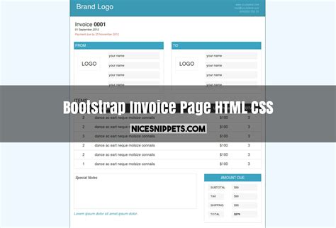 simple html css layout code invoice page design using html css and bootstrap