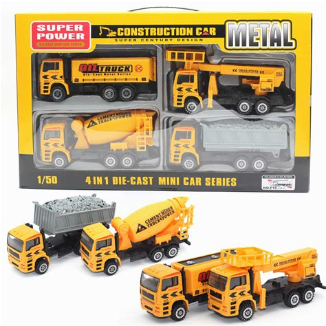 4pcs new mini diecasts car alloy plastic construction vehicle tractor dinky toys sliding