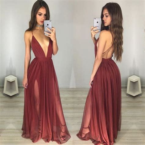 Maxi Maron maroon prom dress v neck ruched backless dressywomen