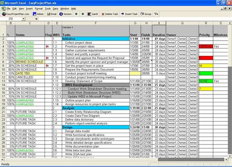 Excel Project Planning Template Screenshot Easyprojectplan Excel Template Excel