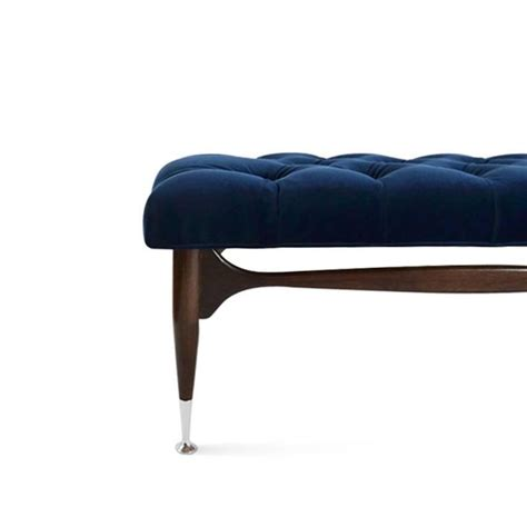 blue velvet bench midcentury sculptural tufted bench in navy blue velvet for