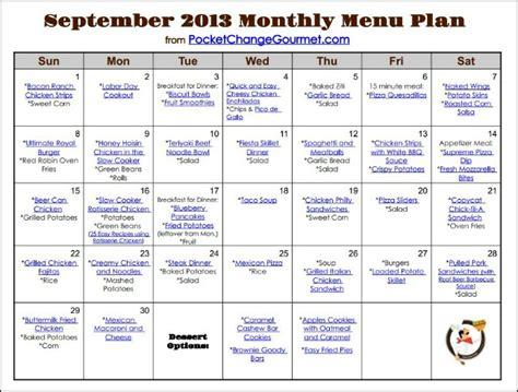 weekly menu plan september pocket change gourmet