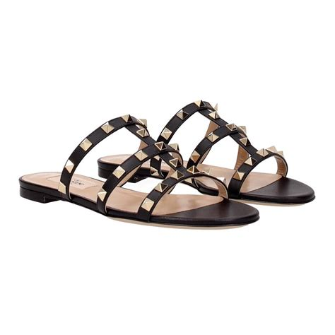 valentino sandals sale valentino rockstud black leather flat sandals on sale 22