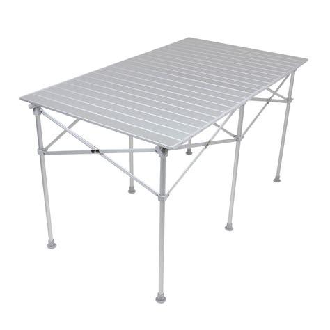 Folding Top Dining Table Azuma Folding Roll Top Portable Aluminium Cing Picnic Outdoor Dining Table Ebay