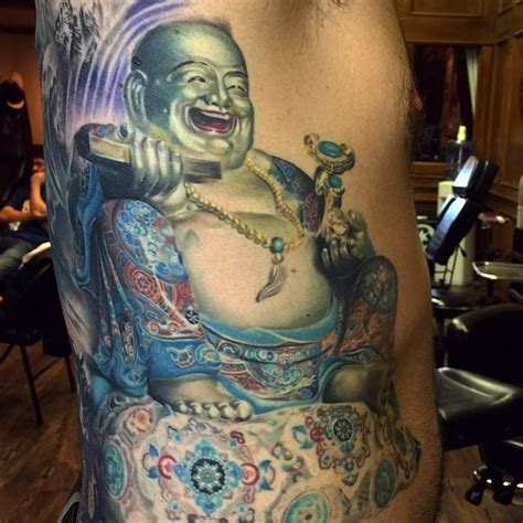 sitting laughing buddha tattoo design
