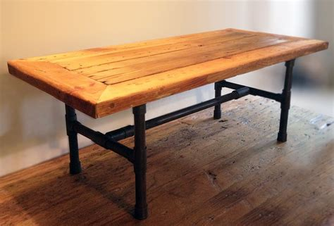 Reclaimed Wood Table by Buy A Handmade Reclaimed Wood Pipe Leg Coffee Table Made