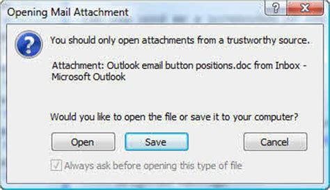Office 365 Outlook Blocking Attachments Restore Or Hide The Open Save Dialog