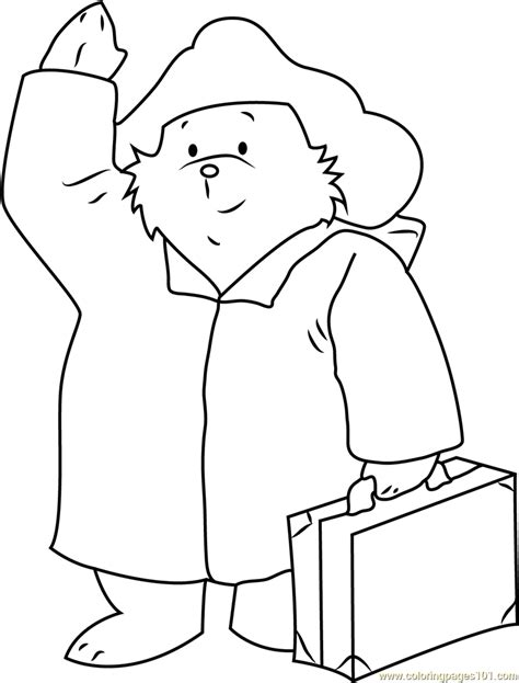 coloring pages paddington bear paddington bear with suitcase coloring page free