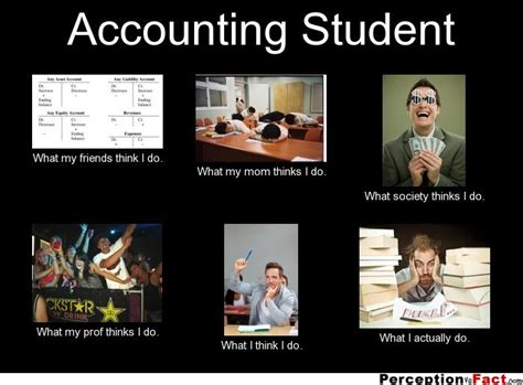 Accounting Memes - accounting student what people think i do what i really do perception vs fact