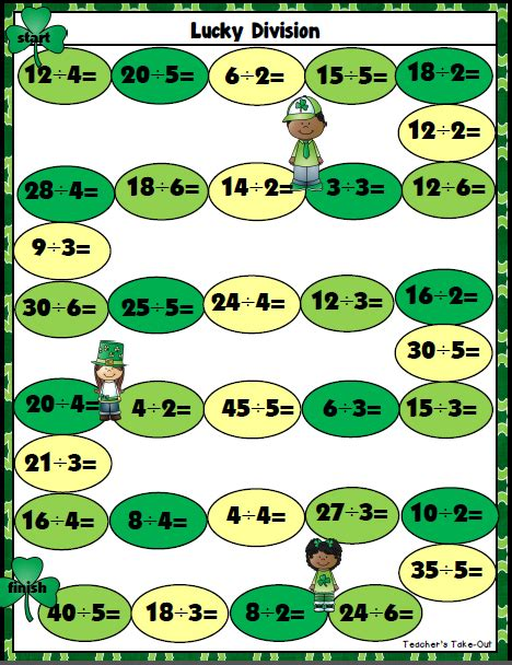 printable division games year 3 teacher s take out freebie lucky division game
