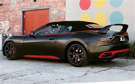 satin black maserati satin black maserati w red accents car vehiclewraps