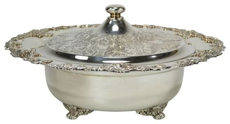 consigned large silver plated bowl lid with grapes