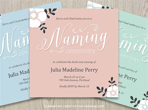 Invitation Letter Format For Baby Naming Ceremony New Stationery Designs For Greenvelope 26 02 15 Clementine Creative Printable Planners