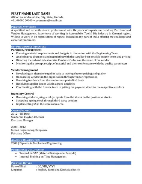 resume format used in india sle resume cv of a purchase manager in india