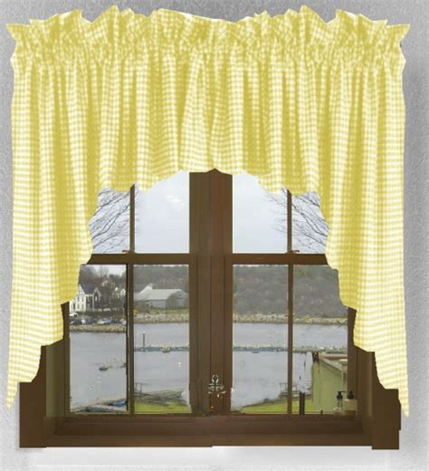 yellow gingham check scalloped window swag valance set