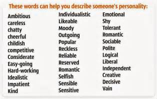 words to describe someone s personality