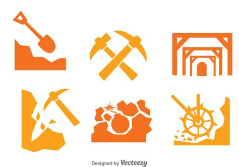design mine graphics mining worker icons set download free vector art stock