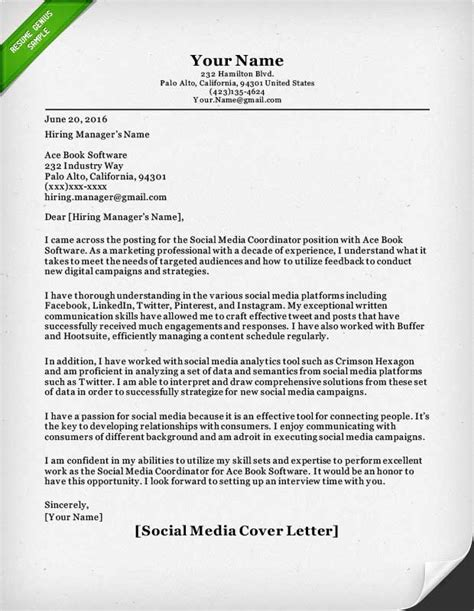 Social Media Manager Cover Letter Salesperson Marketing Cover Letters Resume Genius