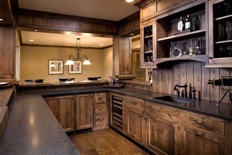 oak wood saddle shaker door custom kitchen cabinet knotty alder stain home bar craftsman with shaker style traditional kitchen faucets