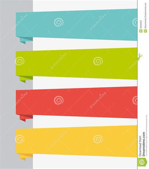 Origami Ui - flat design ui title banners set stock photo image