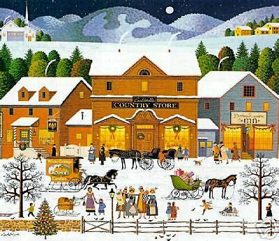 charles wysocki christmas eve sn print ebay