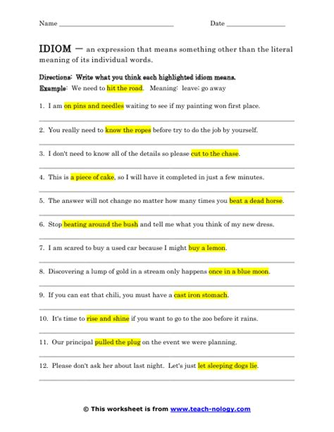 idiom worksheets what s the idiom