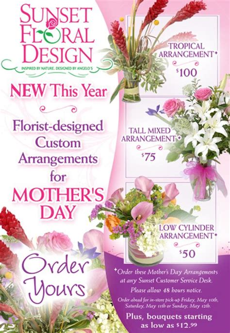 a florist is advertising five types of bouquets florist advertising mothers day arrangements its