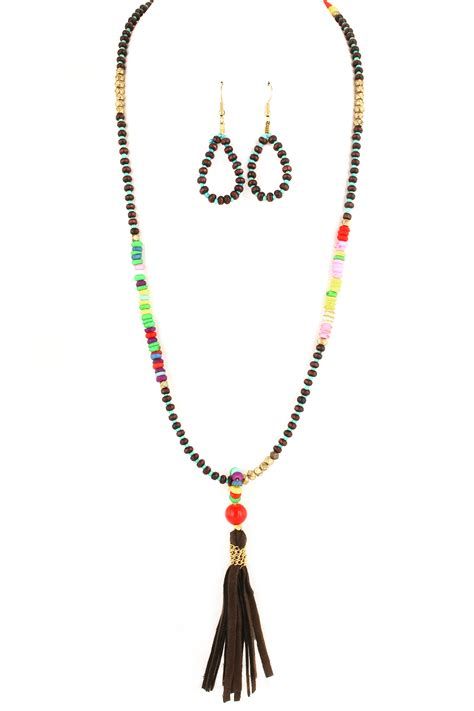 wood bead tassel necklace wood and acrylic bead tassel necklace set necklaces