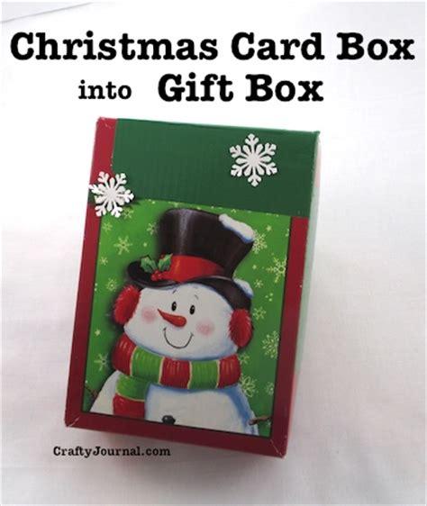 turn a christmas card box into a gift box