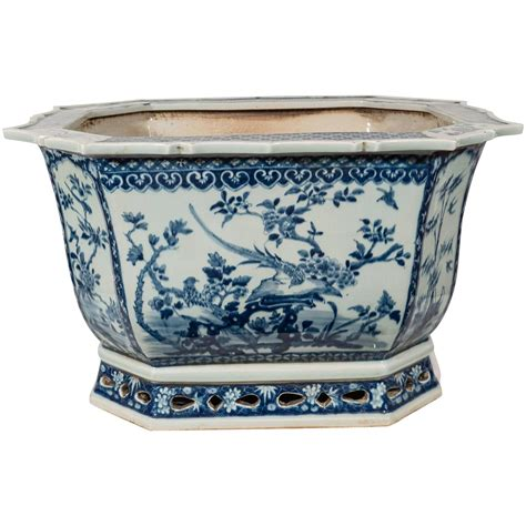 blue and white planter antique porcelain blue and white planter
