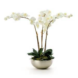 artificial orchids white orchid silver pot decoration house interiors artificial plants flower