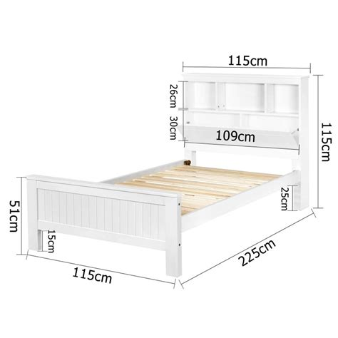 White King Single Bed Frame Wooden Bed Frame King Single With Shelf White
