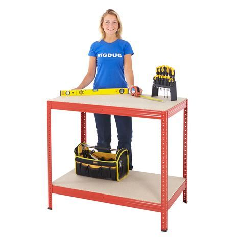 Garage Workbench Steel Tool Bench Table Storage Shelf