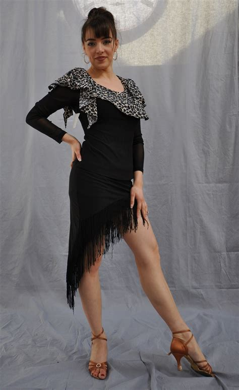 slanted fringe slanted fringe latin skirt with built in under pants