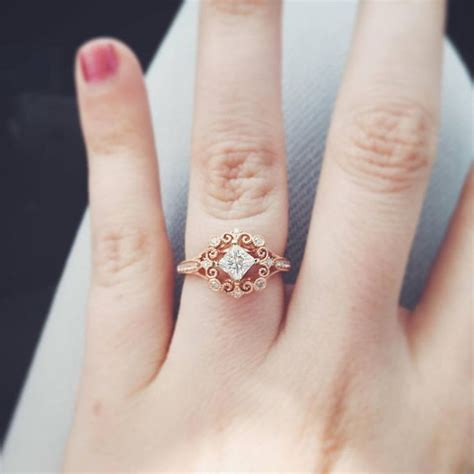 Diamonds On Engagement Band by Vintage Engagement Ring In 14k Gold