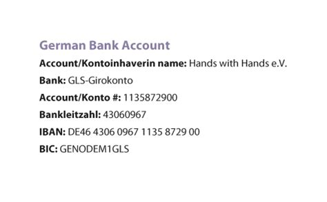 german bank account donations building better futures