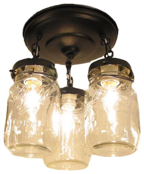 vintage mason jar ceiling light trio oil rubbed bronze