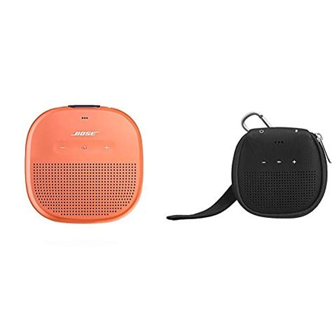 bose soundlink micro waterproof bluetooth speaker bright orange  amazonbasics case black