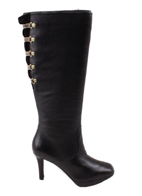 rockport luciana corset womens black leather knee high