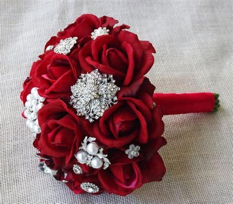 Per Unas Silk Floral Handbag by Silk Brooch Wedding Bouquet Touch Roses And
