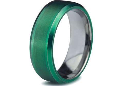green tungsten ring green tungsten rings green wedding