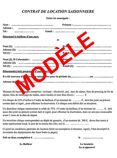 Contrat Location Meublée Gratuit by Mod 232 Le De Contrat De Location Vacances