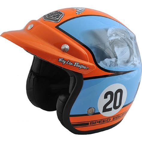 open face motocross helmet steve mcqueen open face helmet blue and orange